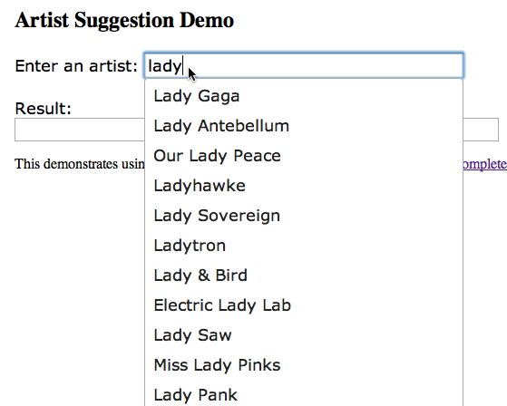 Create an autocompleting artist suggest interface   Music Machinery