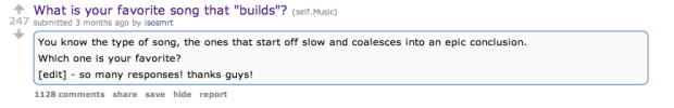 reddit post titled 'what is your favorite song that builds'