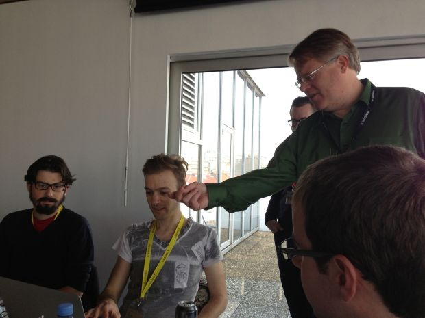 Ben gives a demo to some random guy who later turns out to be Robert Scoble