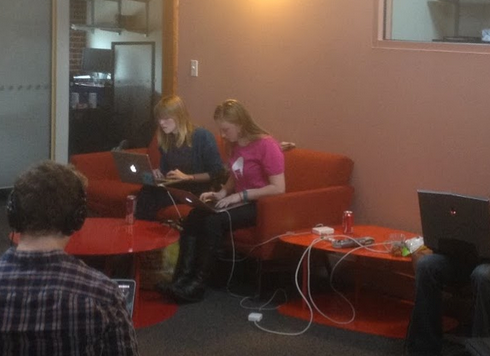 Barbie and Jen hacking away (photo by  Ming Chow)
