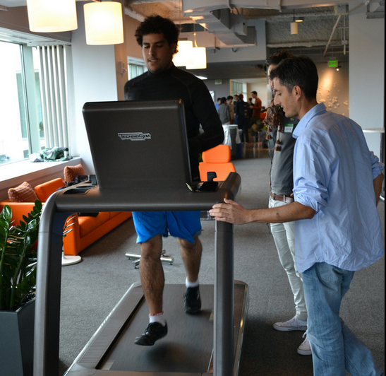 Hackers trying out the Techno Gym