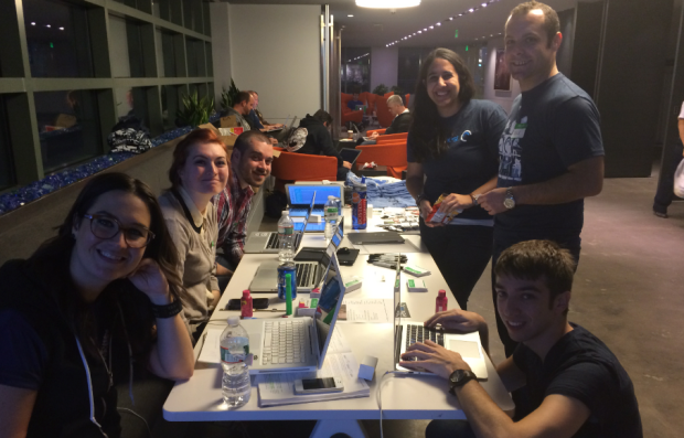 Some of the awesome and unusually attractive volunteers at Music Hack Day Boston