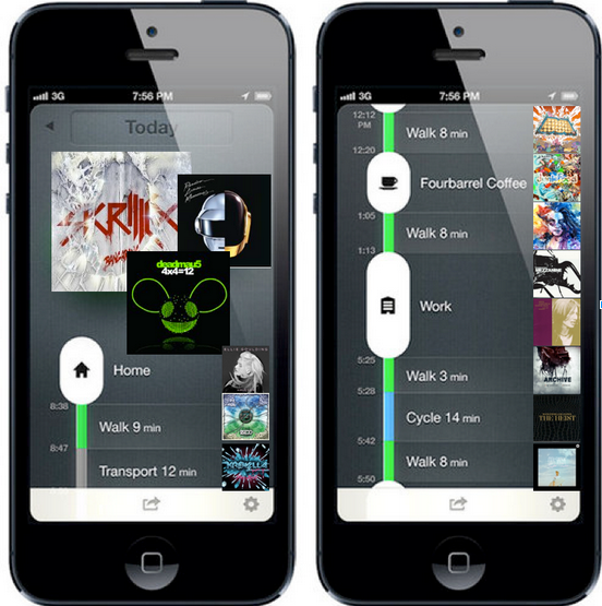 Conceptual zero-ui player that maps music listening onto user activity (as tracked by moves-app )