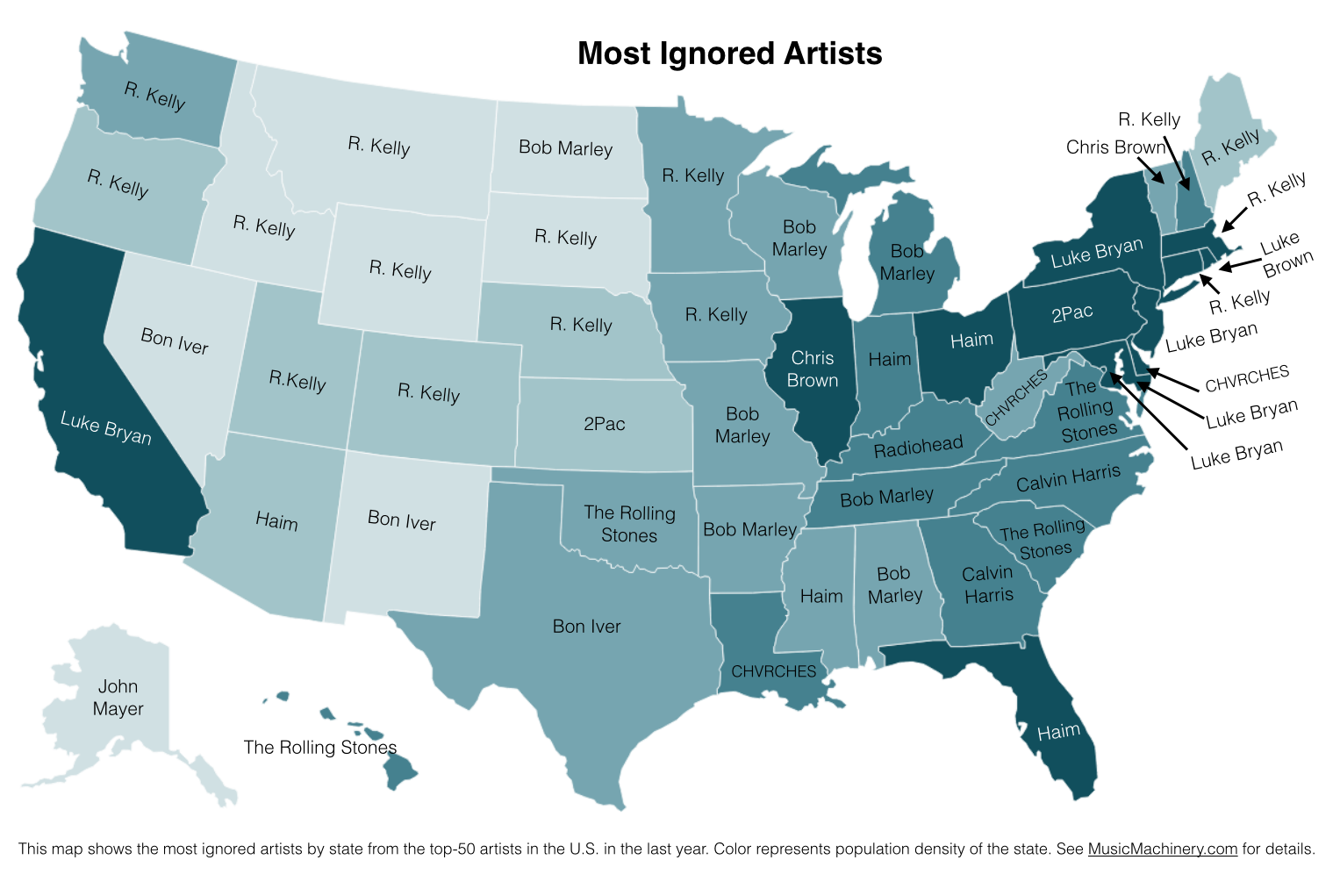 This Map Shows Each States Least Favorite Artists News - Alternative us map